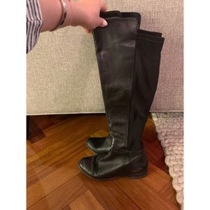 Black Leather Knee High Boots with Elastic Back